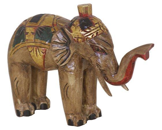 Elefante Indiano Madeira Craquelê - 20cm