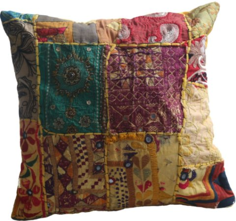 Almofada Índia  Patch work - 45cm x 45cm / (Amarelas)