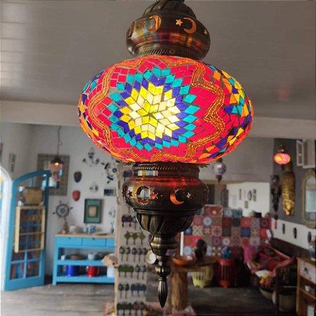 Lustre teto vitral Turquia -  50cm alt.