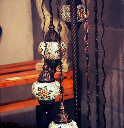 """Luminária de Chão D""""luxo / Turquia - 7 Cúpulas"""