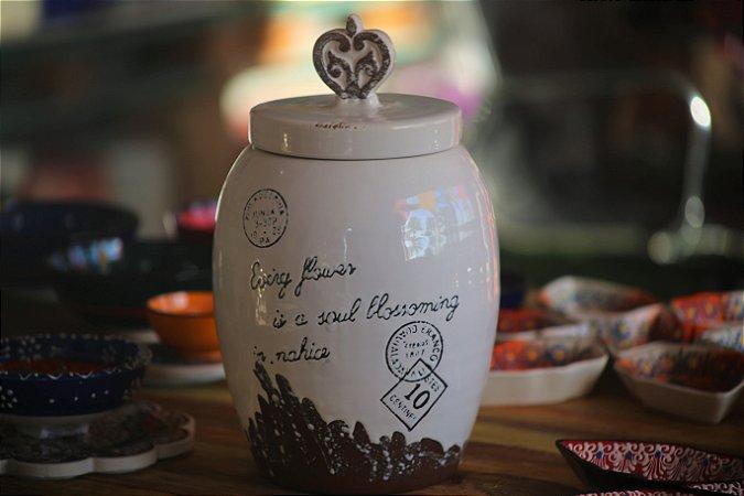 Pote cerâmica Vintage com tampa - 26cm