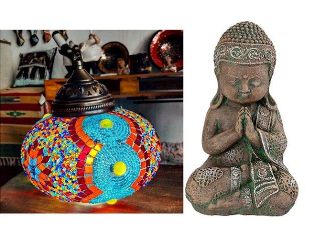 Lustre teto vitral Turquia - renkleri   (cúpula  22cm) + Buda bebe meditação