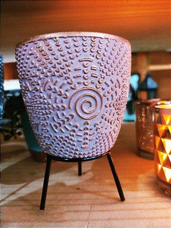 Vasinho Cerâmica flor bordo  + suporte e Macramê  09cm