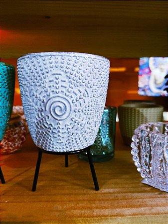 Vasinho Cerâmica flor patina  + suporte e Macramê  09cm