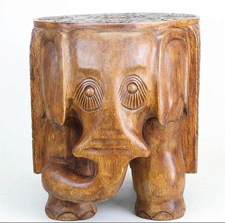 Mesa/Banco elefante entalhado  Madeira nobre/bruta - 50cm