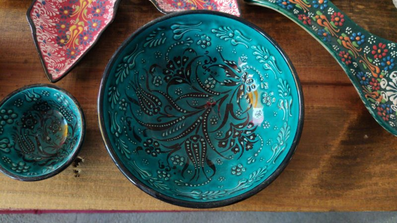 Tigela barroca mosaico red + Tigela Turquia 15cm