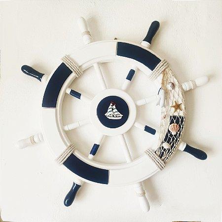 Timão de Navio decoração - Madeira 60cm