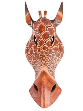 Máscara madeira - Girafa / Zebra 3D  50cm