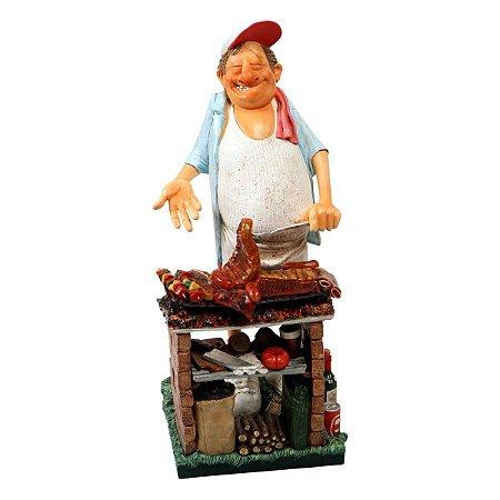 """Escultura - O Churrasqueiro 43cm  """"Artista plástico: Guillermo Forchino """""""