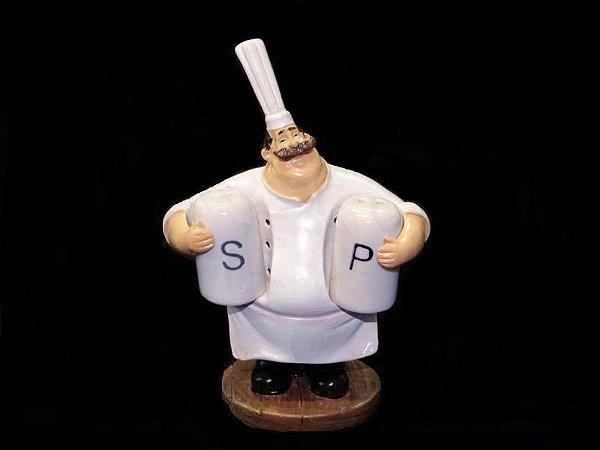 Mini Cozinheiro porta Sal & Pimenta - 16cm
