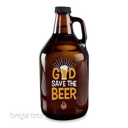 Growler God Save The Beer padrão americano 1,89lt | Breja Box