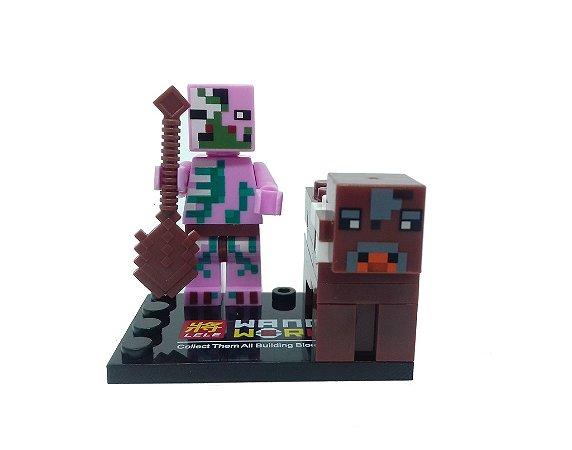 Set Minecraft  - Zombie Pigman e Vaca Filhote