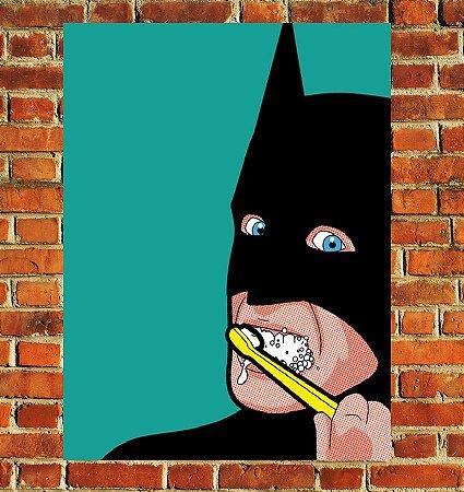 Quadro Decorativo Mdf - Batman Escovando Dente (20x30)