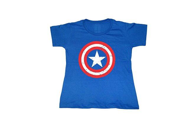 Camiseta Super Heróis Escudo Capitão América - Baby Look