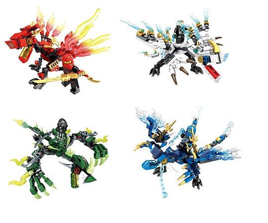 Kit 4 Dragões Ninjago Lego Compatível (530 peças)