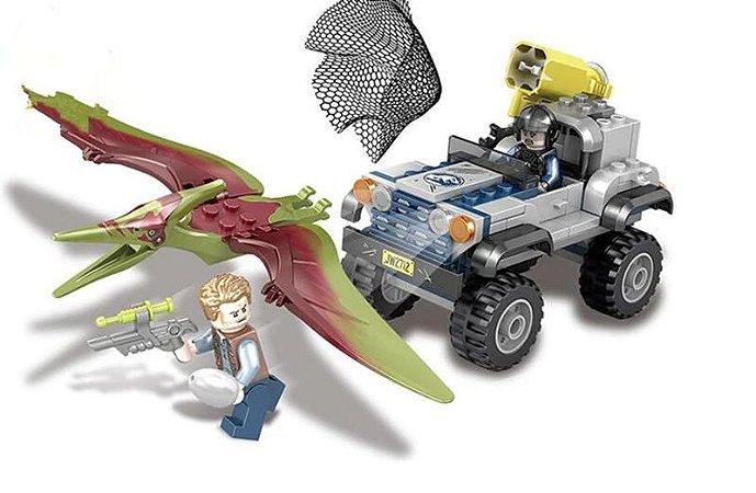 Set Jurassic World A Perseguição Ao Pteranodonte - Brinquedo Dinossauro Lego Compatível (126 Peças)