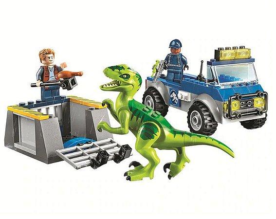 Set Jurassic World Caminhao de Resgate Raptor - Brinquedo Dinossauro Lego Compatível (85 Peças)