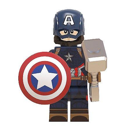 Boneco Capitão América Mjolnir Lego Compatível - Marvel (Edição Deluxe)