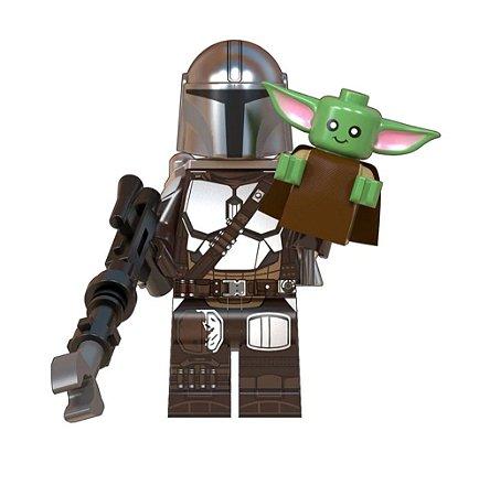Boneco Mandaloriano e Baby Yoda Star Wars Lego Compatível (Armadura Beskar e Jetpack)