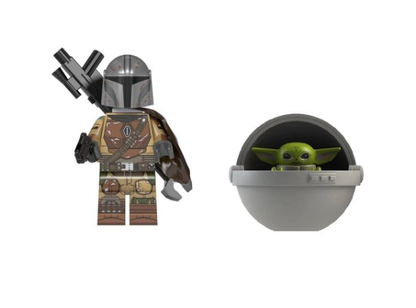 Boneco Mandaloriano e Baby Yoda Berço Star Wars Lego Compatível (Armadura tradicional)