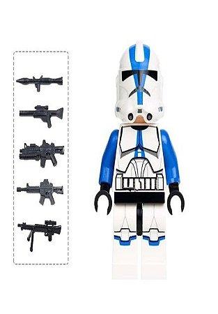 Boneco Clone Trooper Azul Star Wars Lego Compatível c/ 6 Armas (Edição Deluxe)