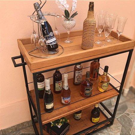 Carrinho de Bebidas Rustico Artesanal Ferro e Madeira