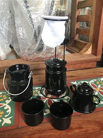 CANTINHO DO CAFÉ COM KIT BULE PRETO EM ALUMÍNIO COM CANECA