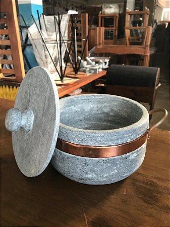 Panela Pedra Sabão Intermediária Rustica Artesanal - 2 LT