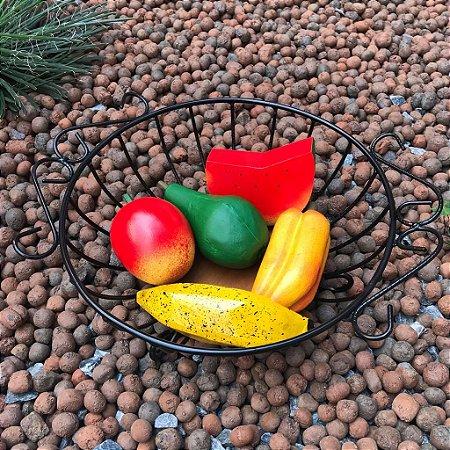 Fruteira Mesa Redonda + Kit Frutas Decorativas