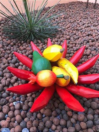 Fruteira Mesa Pimenta + Kit Frutas Artesanal