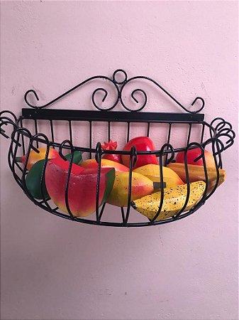 Fruteira Oval Parede + Kit Frutas Decorativas