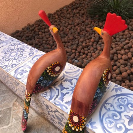 Escultura Casal de Pavão em Madeira Bruta