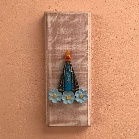 Quadro Decorativo Nossa Senhora Aparecida Flor Azul