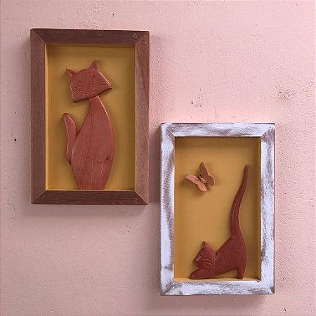 Kit Quadro Decorativo Gato Em Madeira Fundo Amarelo
