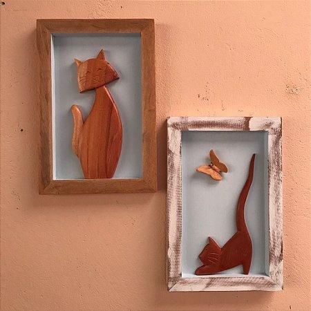 Kit Quadro Decorativo Gato Em Madeira Fundo Azul
