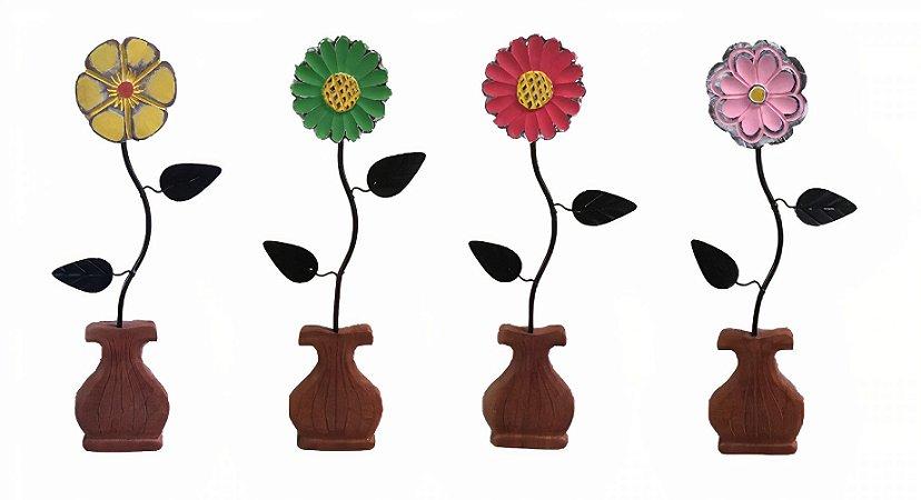 Kit Vaso de Flor Decoração Ferro e Madeira