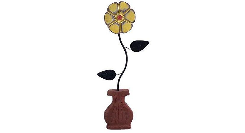 Aplique Vaso de Flor Decoração Ferro e Madeira
