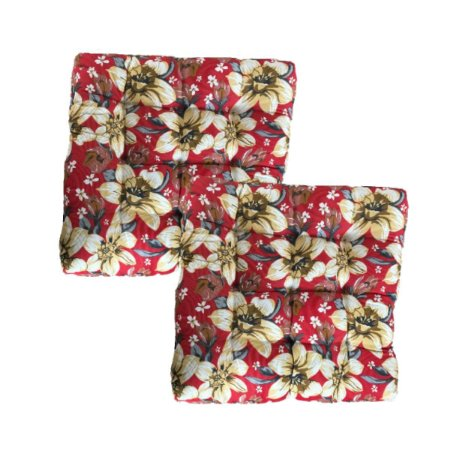 Almofada Futon 50x50 Floral Vermelho Kit 2