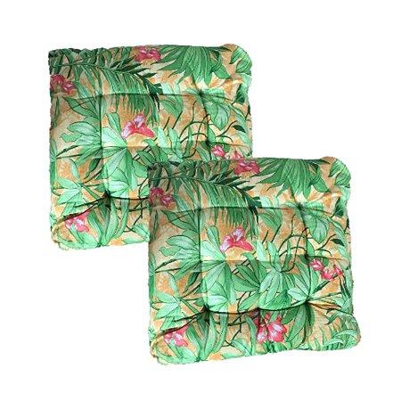 Almofada Futon 50x50 Folha Verde Kit 2