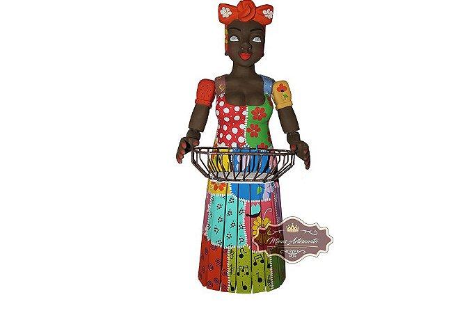 Boneca Serviçal com Fruteira - 1 metro de Altura