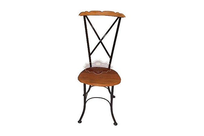 Cadeira Fixa Ferro e Madeira