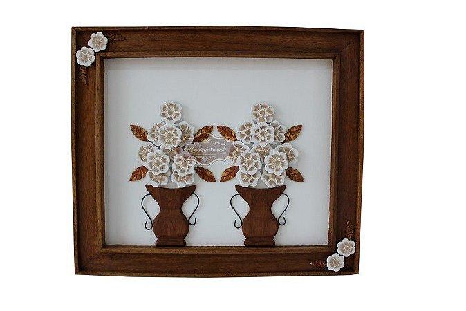 Quadro de Vaso com Flores - Fundo Branco