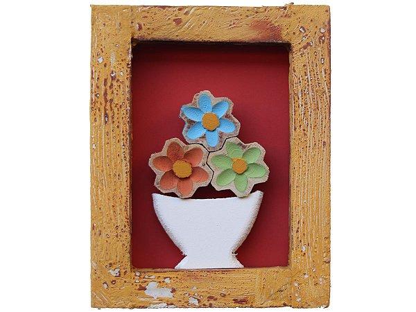 Quadro de jarro com flores fundo vermelho