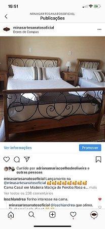 Cama Ferro e Madeira - Colchão Casal Padrão