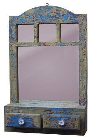 Janela espelho com duas gavetas colorido