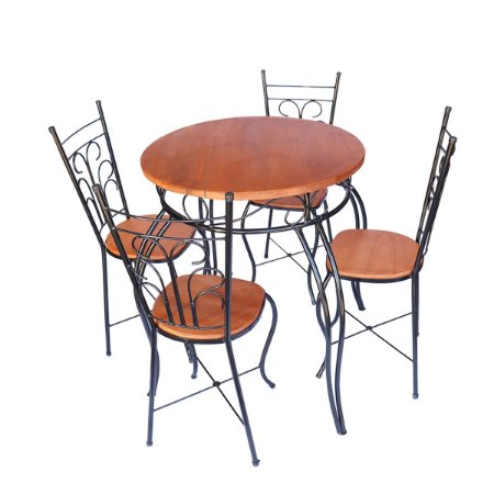 Jogo Bistro Fixo Redondo Rustico - Mesa e 4 Cadeiras