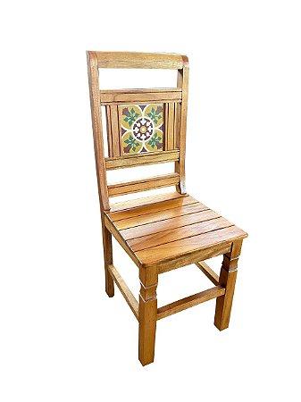 Cadeira de Madeira com Ladrilho - Madeira Demolição Rustica