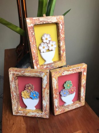 Kit 3 Quadrinhos Decorativos Com Flores Artesanal Colorido