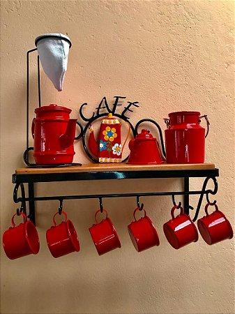 Kit Cantinho do Café com Kit Bule Vermelho em Alumínio com Canecas Vermelhas Leiteira e Açucareiro