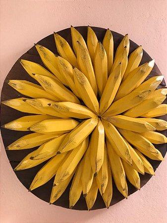 Mandala Decorativa Madeira Maciça Bananas Entalhada